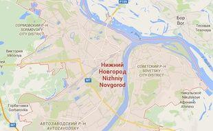 Carte de Nijni-Novgorod (450 km à l'est de Moscou)