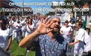 """Lors du tournage de la reprise du clip """"Basique"""" par le personnel du CHU de Toulouse à l'appel de la CGT."""