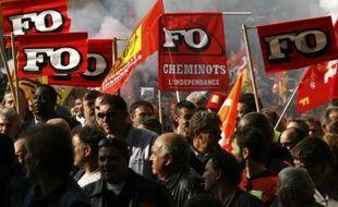 Manifestation à Paris contre la réforme des régimes spéciaux de retraite, le 18 octobre 2007.