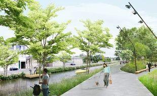 Les berges du canal seront aménagées pour les piétons et les cyclistes.