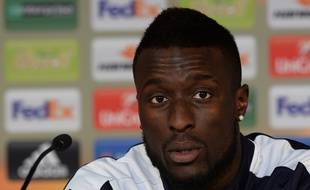 Lamine Sané lors de la conférence de presse du capitaine, avant un match contre le FC Sion, le 21 octobre 2015 à Bordeaux.
