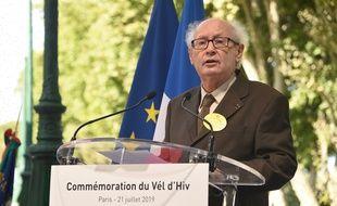 Serge Klarsfeld, lors de la cérémonie consacrée aux victimes de la rafle du Vel d'Hiv à Paris, en 2019.