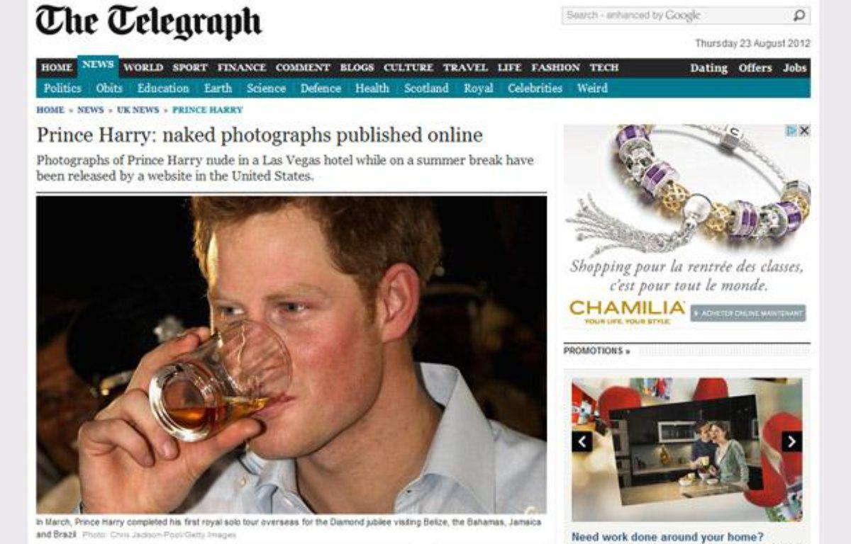 Le journal britannique The Telegraph parle des photos du prince Harry nu prises à Las Vegas en août 2012, mais ne les publie pas. – CAPTURE D'ECRAN/20MINUTES.FR