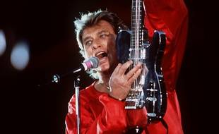 Johnny Hallyday en concert au Parc des Princes, en 1993.