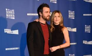 Jennifer Aniston et Justin Theroux le 13 mai 2017 à Paris