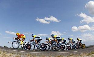 Les coureurs d'Astana sur le Tour de France, le 07 juillet 2009.