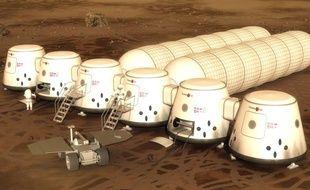 Vue d'artiste du projet de colonie de Mars One.