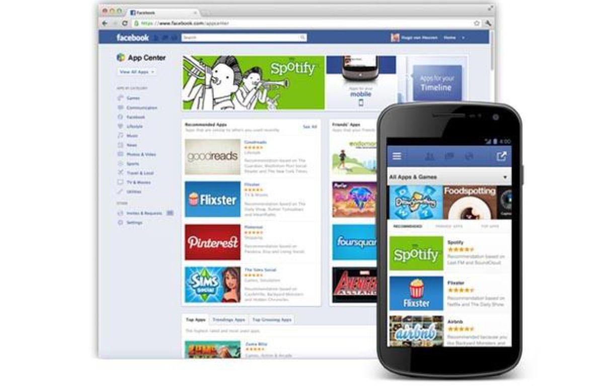 Un aperçu de l'App Center, boutique d'applications de Facebook. – Facebook