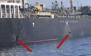Les marques d'impact sur le «Kokuka Courageous» dans le Golfe d'Oman.