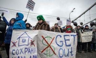 Manifestation contre les banques et contre la hausse du dollar face au rouble, le 28 décembre 2014 à Moscou.