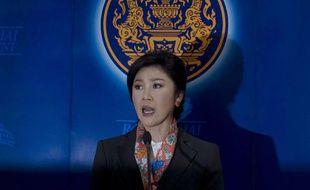 La première ministre thaïlandaise Yingluck Shinawatra, le 7 mai 2014, à Bangkok, après l'annonce de sa destitution par la Cour constitutionnelle.