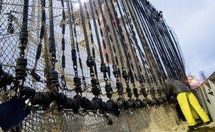 Un chalut de pêche électrique aux Pays-Bas.