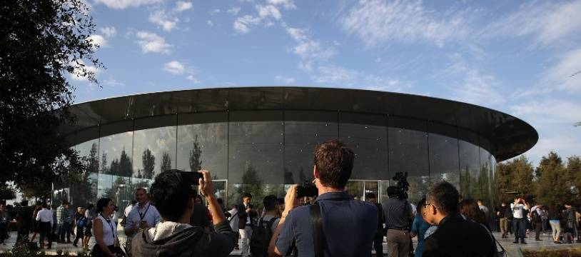 Des visiteurs dans l'Apple Park à Cupertino, en Californie (image d'illustration).