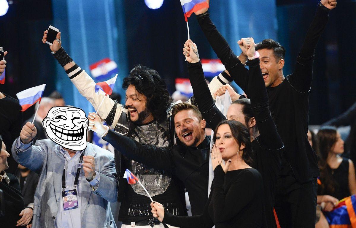 Montage photo - La délégation russe à l'Eurovision en mai 2016. – JONATHAN NACKSTRAND / AFP
