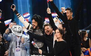 Montage photo - La délégation russe à l'Eurovision en mai 2016.