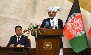 Le président afghan Ashraf Ghani lors d'un meeting le 2 août 2021.
