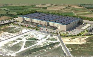 Image de synthèse du projet de plateforme Amazon à Montbert, au sud de Nantes.