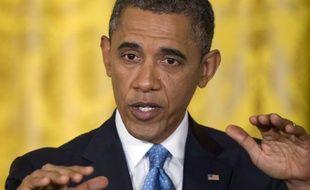 Barack Obama à la Maison Blanche, lors d'une conférence de presse sur les dossiers chauds, le 14 janvier 2013.