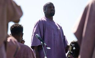 Le rappeur Kanye West lors de sa «messe de Pâques» à Coachella