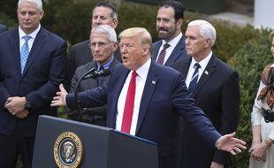 Donald Trump a déclaré l'état d'urgence pour débloquer 50 milliards de dollars face au coronavirus, le 13 mars 2020.