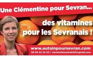 Tract de campagne de Clémentine Autain, candidate du Front de gauche à Sevran (Seine-Saint-Denis).