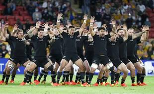 Les All Blacks juste avant le début du match contre l'Argentine, à Brisbane le 18 septembre 2021.