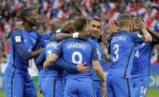 La joie des Bleus lors de France-Bulgarie (4-1), le 7 octobre 2016.
