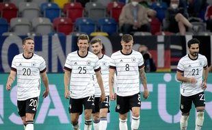 Des joueurs de l'équipe d'Allemagne, à Düsseldorf le 7 juin 2021 lors d'un match contre la Lettonie.
