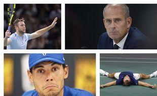 Jack Sock, Guy Forget, Rafael Nadal et Julien Benneteau (sont dans un bateau).