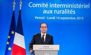 François Hollande lors du comité interministériel aux ruralités à Vesoul, le 14 septembre 2015.
