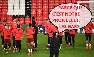 Thomas Tuchel motive les troupes avant le 8e de finale aller de la Ligue des champions du PSG, sur la pelouse de Manchester United.