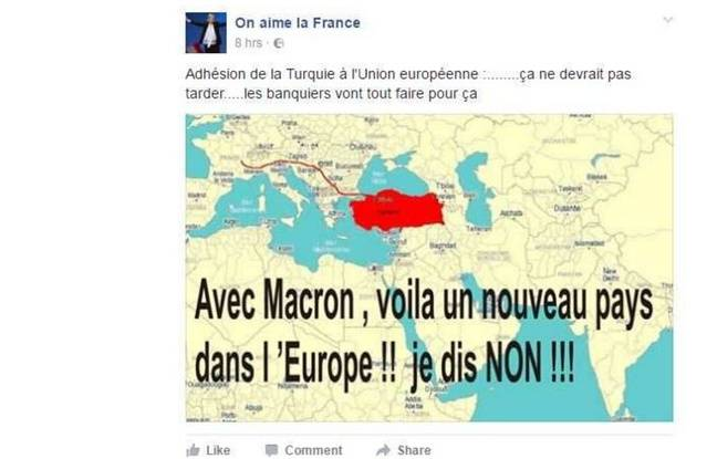 Fake News de la page Facebook «On aime la France» sur Emmanuel Macron