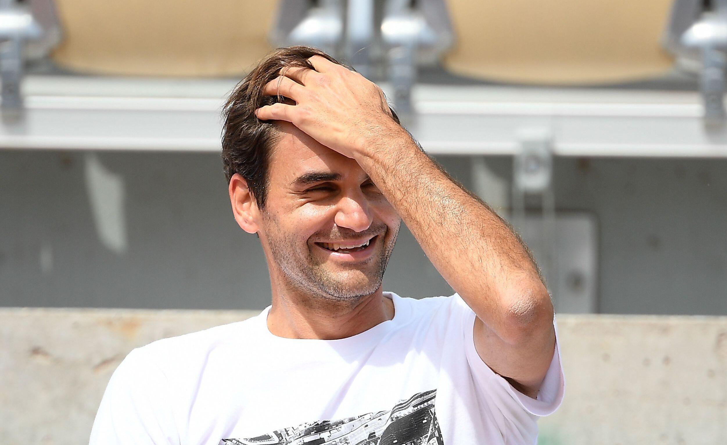 Roger Federer à l'entraînement sur le Philippe Chatrier, le 29 mai 2021.