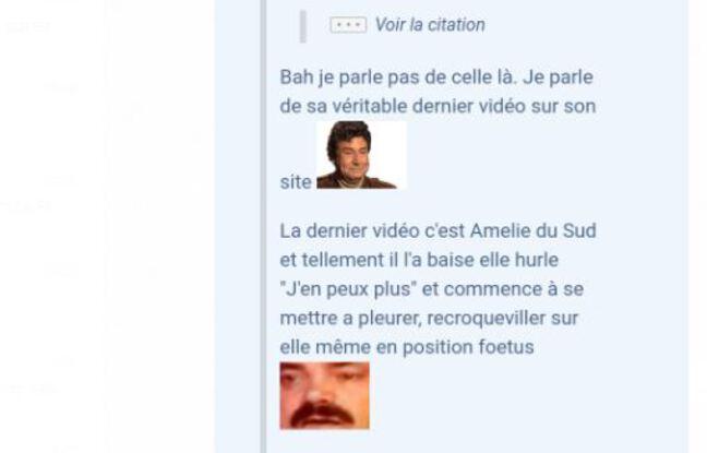 Capture d'écran d'un message de 2018 diffusé sur le site «Jeux-Vidéo.com»