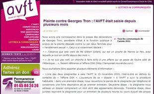 Capture d'écran du site de l'Association européenne contre les violences faites aux femmes au travail, saisie en novembre 2010 par une des accusatrices de Georges Tron.