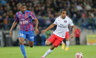Lucas (à droite) face à Caen, le 24 septembre 2014