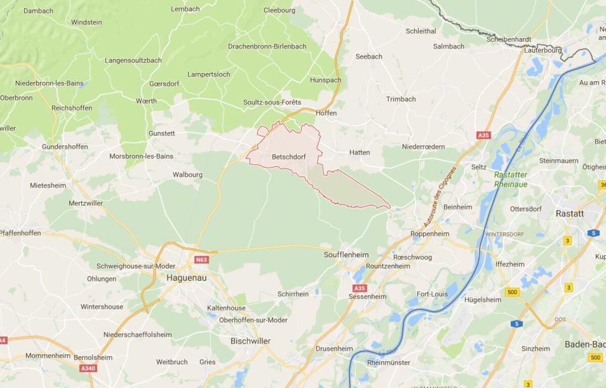 A Betschdorf en Alsace: Trop de bruit à la fête d'anniversaire de son voisin, il tire sur les invités – Capture d'écran - Google Maps