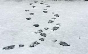 Illustration. Des traces de pas dans la neige. Strasbourg le 10 janvier 2017.