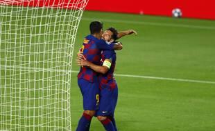 Lionel Messi et Luis Suarez sous le maillot du Barça face à Naples en Ligue des champions, le 8 août 2020.