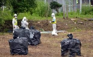 Des employés participent à une opération de décontamination le 17 juillet 2015 dans le village de Iitate dans la préfecture de Fukushima, qui n'a pas été évacué au moins un mois après l'accident de la centrale