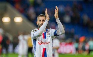 Maxime Gonalons, ici après la demi-finale retour de Ligue Europa contre l'Ajax Amsterdam le mois dernier. CHINE NOUVELLE