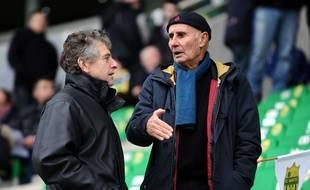 Jean-Claude Suaudeau en discussion avec Christian Gourcuff, le 12 janvier 2014 à la Beaujoire.