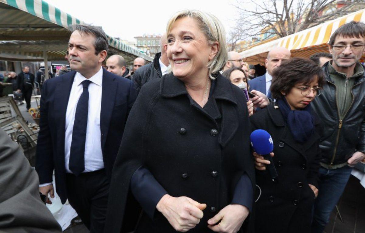 Marine Le Pen, présidente et candidate du Front national à la présidentielle, le 13  février 2017 à Nice – VALERY HACHE / AFP