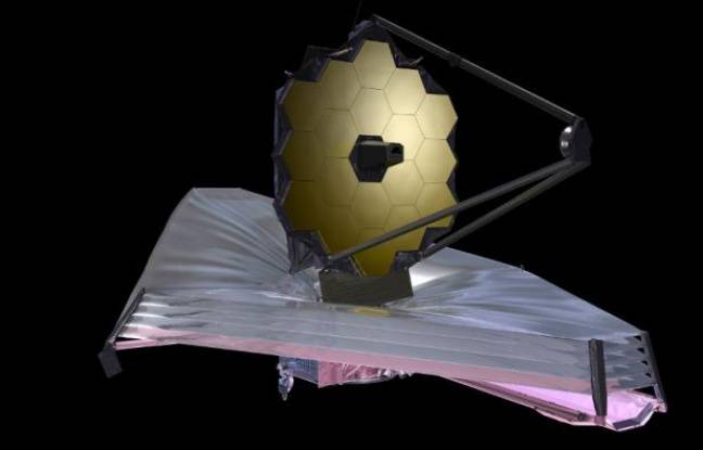 Vue d'artiste du téléscope spatial James-Webb, qui devrait décoller à l'automne 2021.