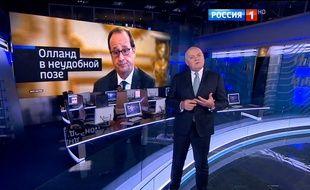 L'idéologue du Kremlin Dmitri Kiselev critique François Hollande à la télévision russe, le 16 octobre 2016.
