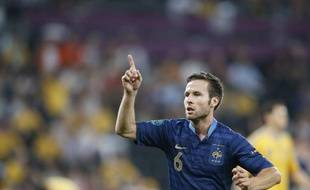 Le milieu de terrain de l'équipe de France, Yohan Cabaye, lors du match contre l'Ukraine, le 15 juin 2012.