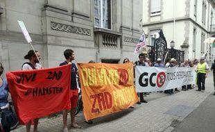 Une centaine d'opposants au projet autoroutier de Grand contournement Ouest de Strasbourg (GCO)  devant le tribunal administratif de Strasbourg en juin. Illustration
