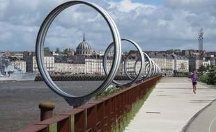 Les anneaux de Buren, sur la pointe ouest de l'île de Nantes.