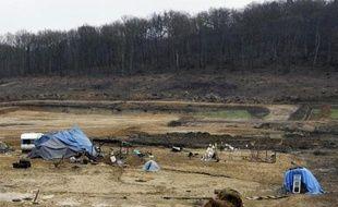 Le campement des zadistes près du site contesté de retenue d'eau à Sivens (Tarn) le 6 janvier 2015