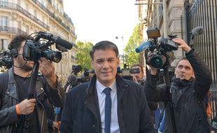 Olivier Faure, député PS, le 24 avril 2017 devant Solférino.